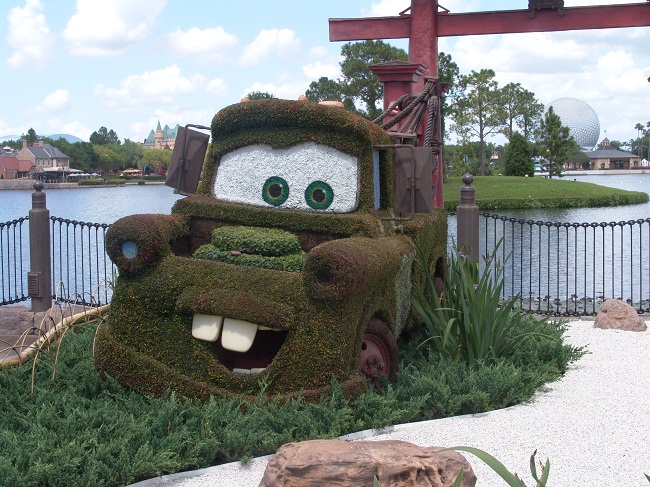 larry the cable guy tow truck in cars at epcot