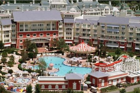 boardwalk inn aerial photo of pool and rooms exterior