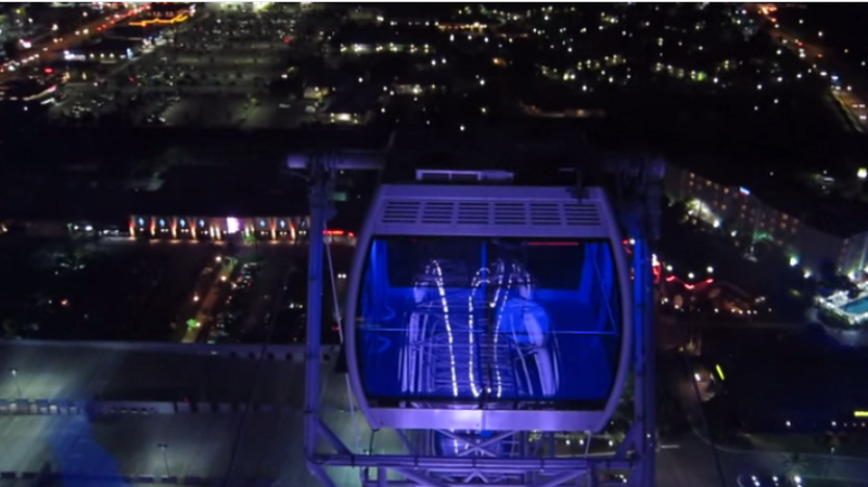 top of the orlando eye at night