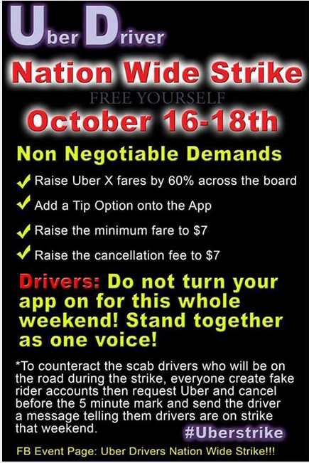 uber strike october 16-18